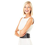 Pretty woman smiling and standing with arms folded