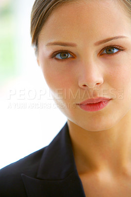 Buy stock photo Closeup portrait of a beautiful young businesswoman