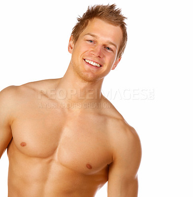 Buy stock photo Studio portrait of a muscular bare-chested model isolated on white