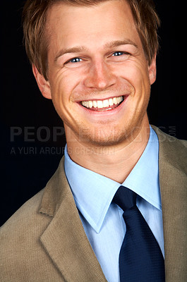 Buy stock photo Trendy young businessman smiling with positivity - closeup portrait