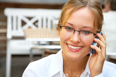 Buy stock photo Female businesswoman making a phone call.  This picture is made so that it is light and clear, and with good contrast between the elements of the picture. The concept of the picture is successfulness, surplus and energy.