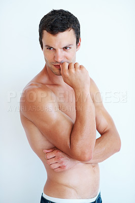 Buy stock photo Portrait of shirtless muscular man thinking