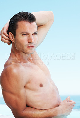 Buy stock photo Portrait of muscular man with wet body