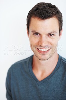 Buy stock photo Portrait of handsome young man smiling indoors