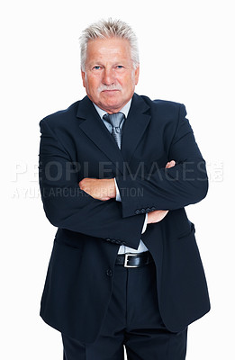 Buy stock photo Portrait of experienced senior business man standing with arms crossed
