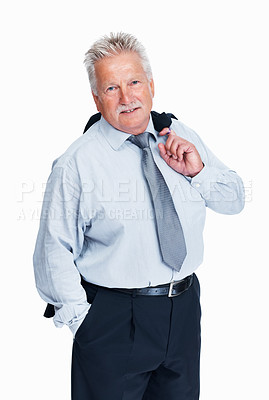 Buy stock photo Portrait of relaxed senior business man standing with coat over shoulders on white background