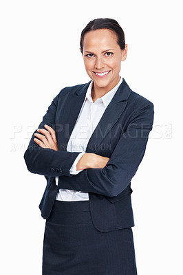 Buy stock photo Portrait of confident business woman smiling over white background