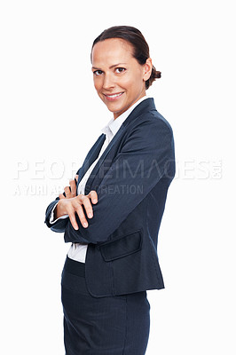 Buy stock photo Portrait of elegant mixed race woman standing with arms crossed over white background