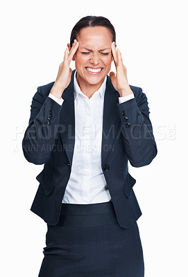 Buy stock photo Beautiful business woman stressed out with headache over white background