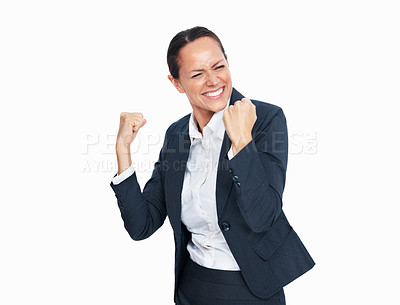 Buy stock photo Portrait of enthusiastic business woman with clenched fist in victory on white background