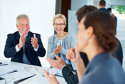 Buy stock photo Portrait of supportive business people applauding for good presentation in office