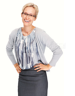 Buy stock photo Portrait of young business woman smiling casually over white background
