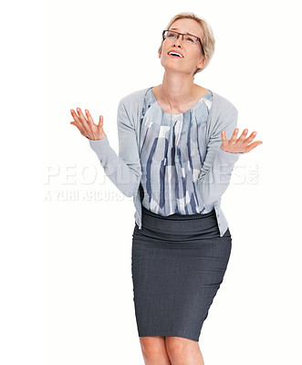 Buy stock photo Portrait of young business woman in despair praying over white background