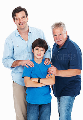 Buy stock photo Portrait of cute boy with father and grandfather on white background