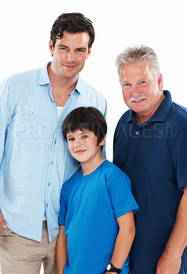 Buy stock photo Portrait of handsome man with father and son on white background