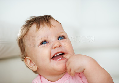 Buy stock photo Closeup of cute little baby girl with blue eyes