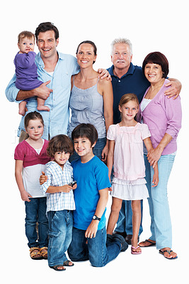 Buy stock photo Portrait of senior parents with children and grand children on white background