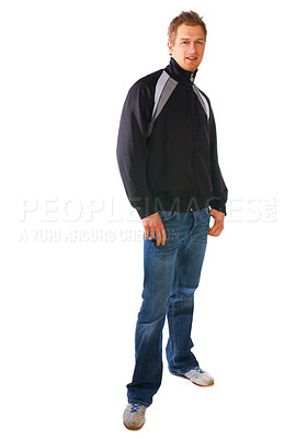 Buy stock photo Studio pictures of young college student, who is looking casual and cool.