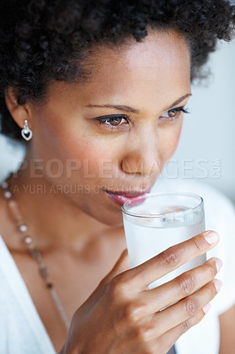 Buy stock photo Closeup of beautiful African American woman drinking water