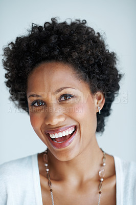 Buy stock photo Closeup of charming African American woman smiling