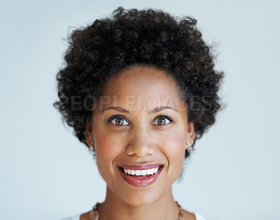 Buy stock photo Closeup of beautiful African American woman with surprised expression
