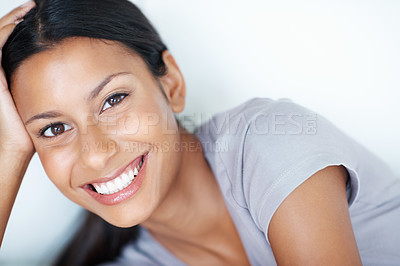 Buy stock photo Closeup portrait of pretty mixed race woman smiling at home