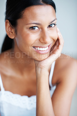 Buy stock photo Portrait of attractive mixed race woman with beautiful smile