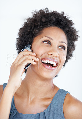 Buy stock photo Closeup of beautiful African American woman communicating on mobile phone on white background