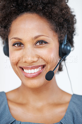 Buy stock photo Closeup portrait of confident female customer service representative with headset smiling