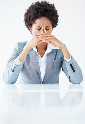 Buy stock photo Tired African American business woman in stress
