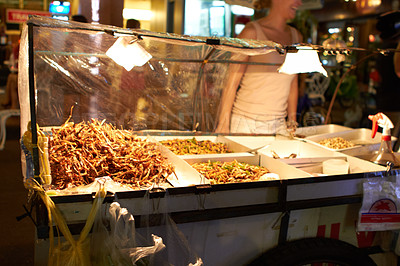 Buy stock photo Stall selling fried insects at a streetmarket in Thailand