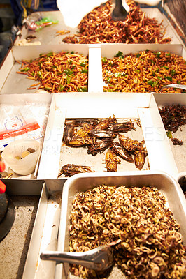 Buy stock photo Assortment of fried insect dishes at a Thai market