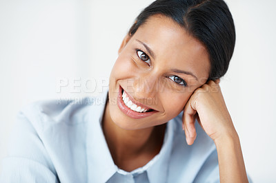 Buy stock photo Closeup of professional business woman smiling on white background