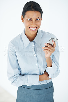 Buy stock photo Portrait of attractive female executive texting over white background