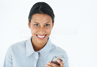Buy stock photo Portrait of charming business woman text messaging over white background