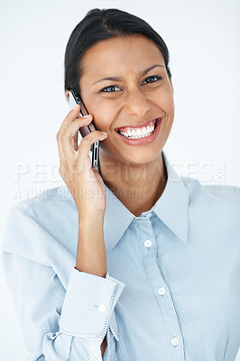 Buy stock photo Portrait of mixed race business woman laughing during phone call