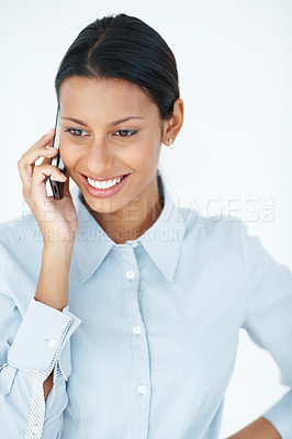 Buy stock photo Beautiful business woman talking on cellphone over white background