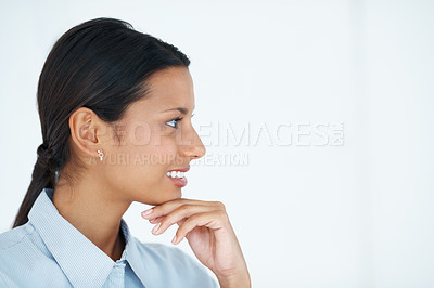 Buy stock photo Closeup of confident business woman looking at copyspace