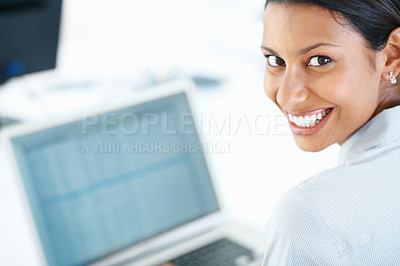 Buy stock photo Closeup of cheerful female executive smiling at computer desk