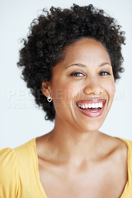 Buy stock photo Closeup portrait of attractive African American woman laughing over white background