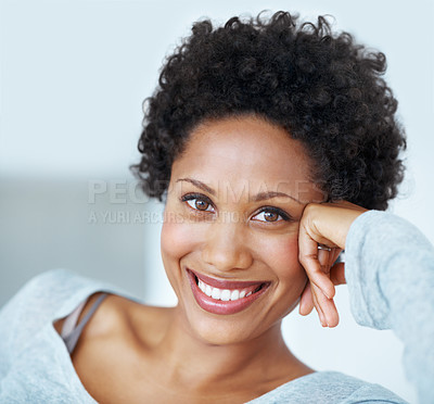 Buy stock photo Closeup portrait of beautiful young woman smiling while resting head on hand
