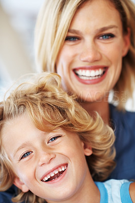 Buy stock photo Portrait of cute little boy smiling with mother