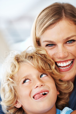 Buy stock photo Portrait of cheerful Caucasian woman smiling with cute son