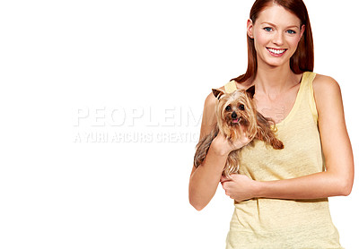 Buy stock photo Portrait of a cute redhead holding a yorkshire terrier - Copyspace