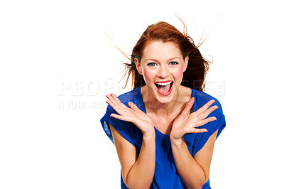 Buy stock photo Portrait of a fiery redhead laughing - Isolated