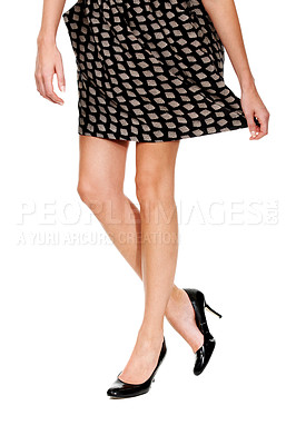 Buy stock photo Cropped image of a young lady's legs - Isolated on white