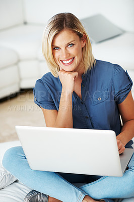 Buy stock photo Portrait of attractive Caucasian woman using laptop at home