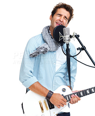 Buy stock photo Trendy young musician singing passionately into a microphone - copyspace