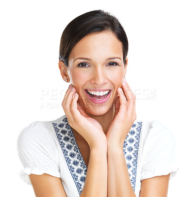Buy stock photo Beautiful brunette smiles at the camera while touching her cheeks with both hands - portrait