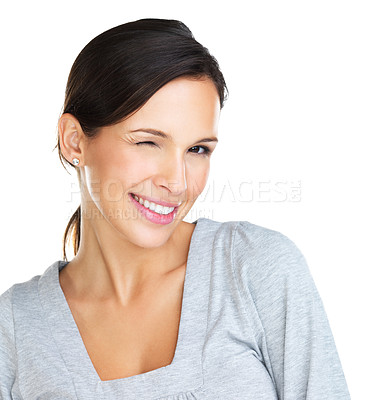 Buy stock photo Gorgeous brunette winking seductively at the camera - closeup